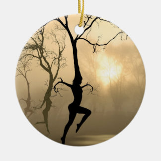 Dancing Trees Double-Sided Ceramic Round Christmas Ornament