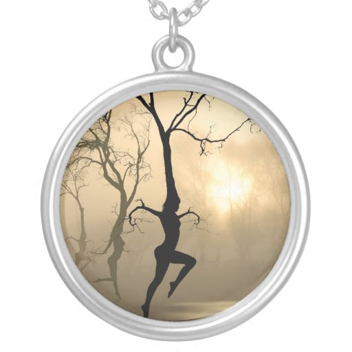 Dancing Trees Round Pendant Necklace