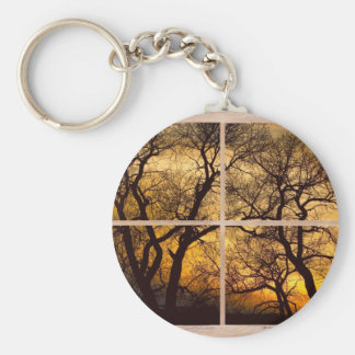 Dancing_Trees_Sunset_Picture_Window_Frame Photo_Ar Basic Round Button Keychain