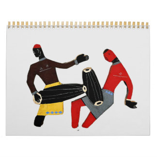 Dancing Tribal Two Page, medium, White Calendar
