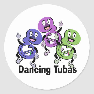 Dancing Tubas Classic Round Sticker
