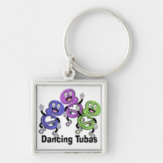 Dancing Tubas Silver-Colored Square Keychain