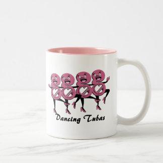 Dancing Tubas/ Pink Two-Tone Coffee Mug