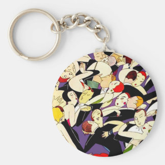 Dancing Vintage Couples Basic Round Button Keychain