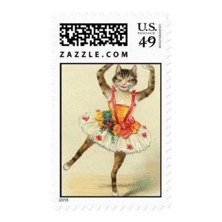 dancing vintage diva kitten postage stamps