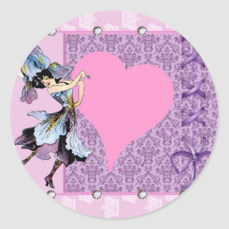 Dancing vintage flower fairy pink design by LeahG Round Stickers