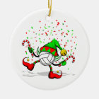 Dancing Volleyball Christmas Elf Ceramic Ornament
