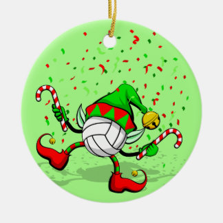 Dancing Volleyball Christmas Elf Double-Sided Ceramic Round Christmas Ornament