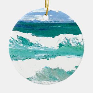 Dancing Waves Ocean Sea Waves Art Gifts Ceramic Ornament