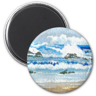 Dancing Waves on the Rocks  CricketDiane Ocean A 2 Inch Round Magnet