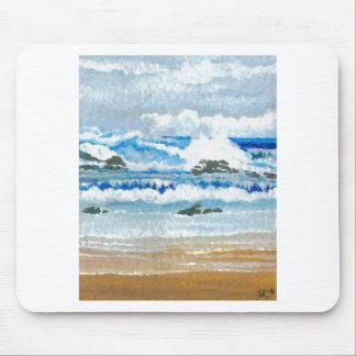 Dancing Waves on the Rocks Ocean Seascape Mousepad