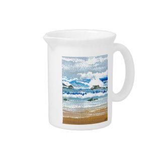 Dancing Waves on the Rocks Ocean Seascape Drink Pitcher