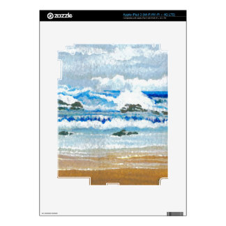 Dancing Waves on the Rocks Ocean Seascape Decals For iPad 3