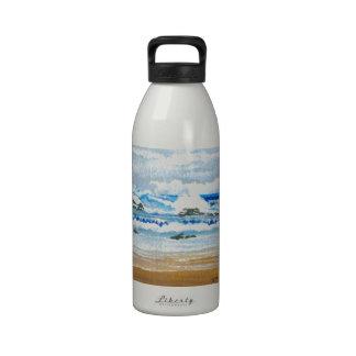 Dancing Waves on the Rocks Ocean Seascape Water Bottles