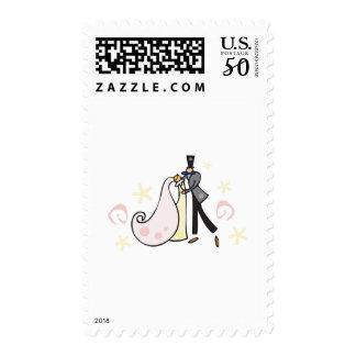 Dancing wedding couple postage