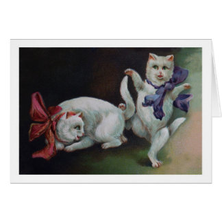 Dancing White Cats - Vintage Art Card