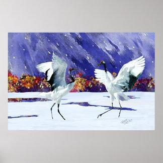 Dancing White Cranes Poster