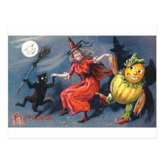 Dancing Witch in Moonlight Postcard