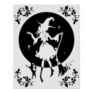 Dancing witch with broom and cat in flower frame poster