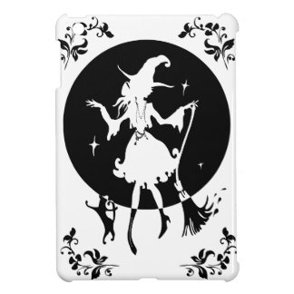 Dancing witch with broom and cat iPad mini cover