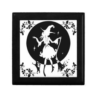 Dancing witch with broom and cat jewelry box