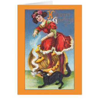 Dancing with Black Cat Halloween Vintage Card