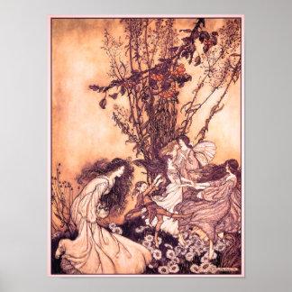 Dancing with Fairies Arthur Rackham Illustration Poster