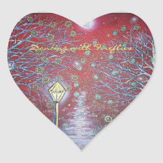 Dancing with Fireflies Heart Sticker
