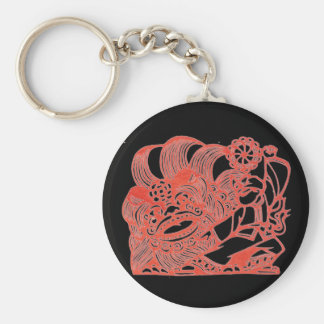 Dancing with lion basic round button keychain