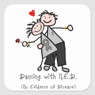 Dancing with N.E.D. - Brain Cancer / Tumor Square Sticker