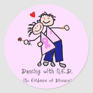 Dancing with N.E.D. - Breast Cancer Pink Ribbon Classic Round Sticker