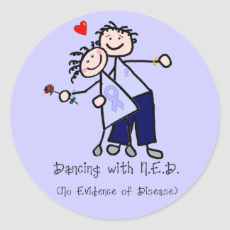Dancing with N.E.D. - Cancer Lavender Ribbon Classic Round Sticker
