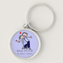 Dancing with N.E.D. - Cancer Lavender Ribbon Keychain