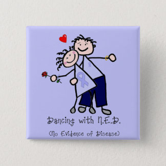 Dancing with N.E.D. - Cancer Lavender Ribbon Pinback Button