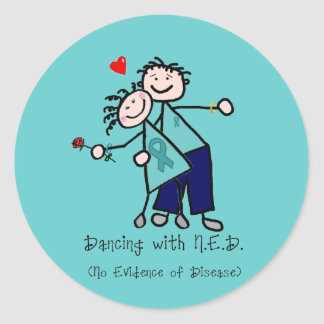 Dancing with N.E.D. Ovarian Cancer Classic Round Sticker