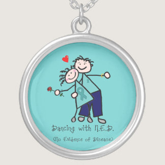 Dancing with N.E.D. Ovarian Cancer Silver Plated Necklace