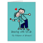 Dancing with N.E.D. Teal Ribbon Greeting Cards