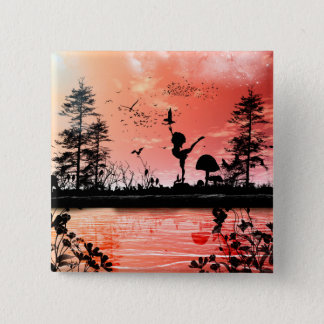 Dancing with the birds in the sunset button