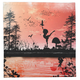 Dancing with the birds in the sunset cloth napkin