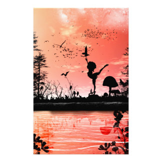 Dancing with the birds in the sunset stationery