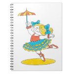 Dancing With Umbrella Spiral Note Book