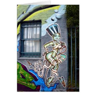 Dancing Woman Graffiti Greeting Card