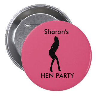 """Dancing Woman"" Hen night badge (black on pink) Pinback Buttons"