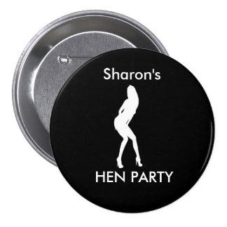 """Dancing Woman"" Hen night badge (white on black) Pinback Buttons"