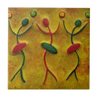 Dancing Women Abstract African Art Tile Coaster