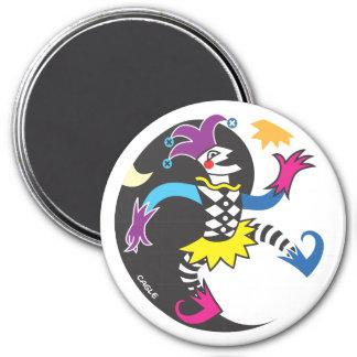 Dancing yinyang jester magnet