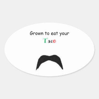 DancingMustache Eat taco Oval Sticker
