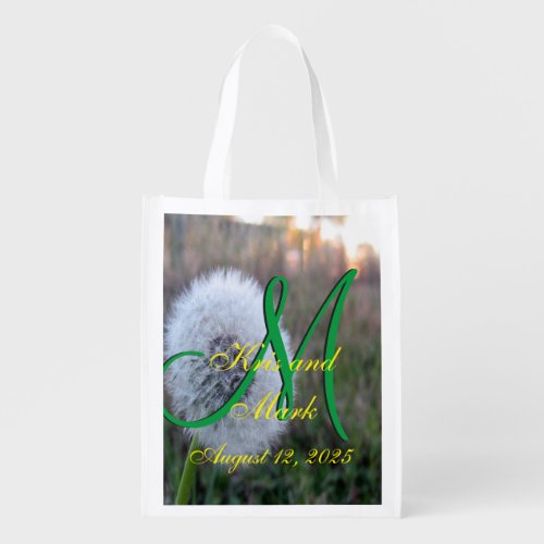 Dandelion 3d Monogram Grocery Bag