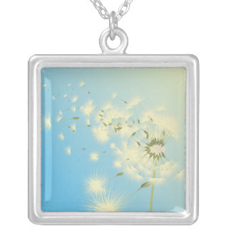 Dandelion Afternoon Square Pendant Necklace