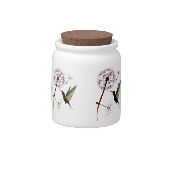 Dandelion and Hummingbird Candy Jar